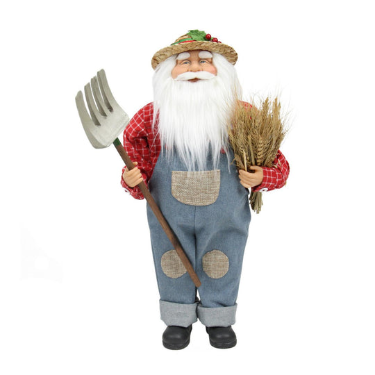 "18"" Country Heritage Santa Claus Holding a Sheaf of Wheat Christmas Decoration"