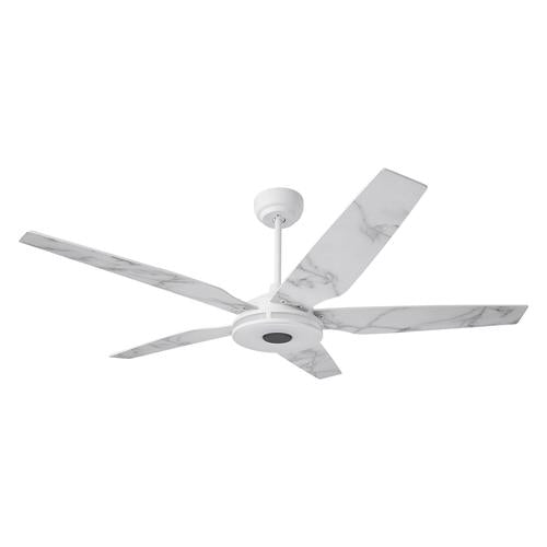 5-Blade Smart Ceiling Fan with LED Light Kit & Remote - White/Marble Pattern