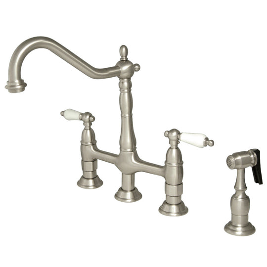 Heritage Bridge Four Hole Kitchen Faucet With Brass Sprayer