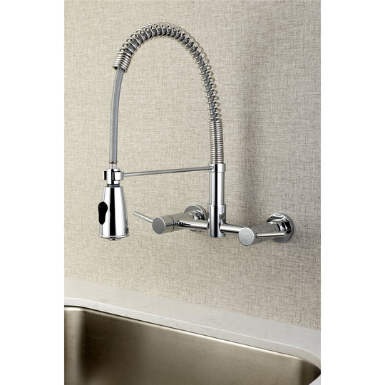 Concord 2-Handle Modern Wall Mount Pull-Down Kitchen Faucet