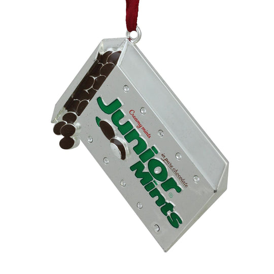 "3"" Silver Plated Junior Mints Candy Bar Logo Christmas Ornament With European Crystals"