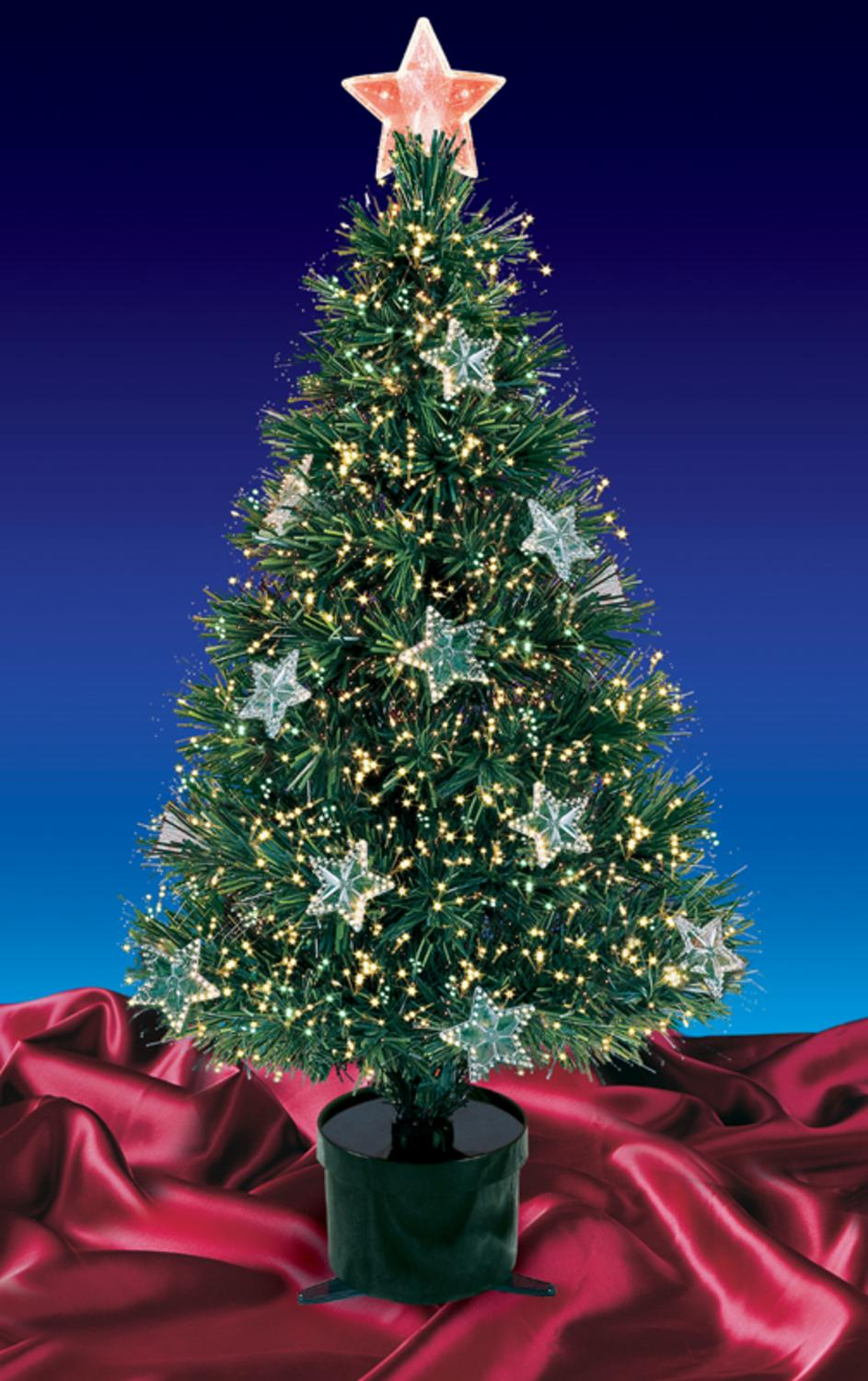 3' Pre-Lit Fiber Optic Artificial Christmas Tree with Stars - Multi Lights