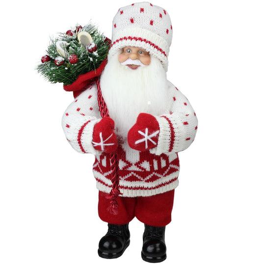 "12.5"" Santa in Knit Deer Sweater with Sack of Pine Table Top Decoration"