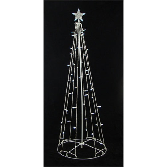 6' Pure White LED Lighted Outdoor Christmas Cone Tree Yard Art Decoration