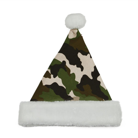 "14"" Green and White Camouflage Christmas Santa Claus Hat Accessory - Medium"