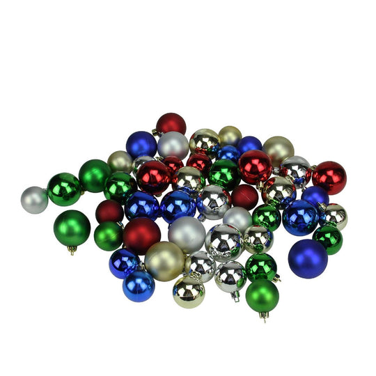 "50Ct Red Hot Shatterproof Shiny And Matte Christmas Ball Ornaments 1.5""-2"""