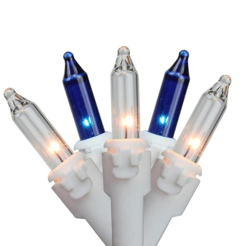 Set of 100 Blue & Clear Mini Icicle Incandescent Christmas Lights 3