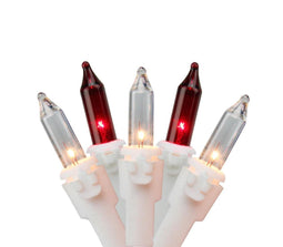 Set of 100 Red and Clear Mini Icicle Christmas Lights 3
