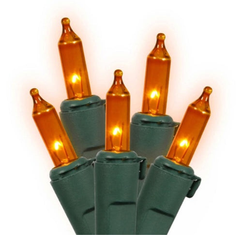 4' x 6' Orange Mini Incandescent Christmas Net Lights - Green Wire