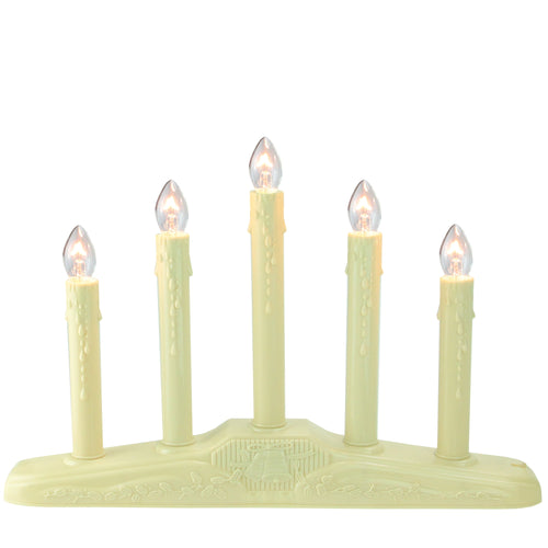5-Light Christmas Candolier with Candles on Holly Berry and Bell Base Candle Lamp