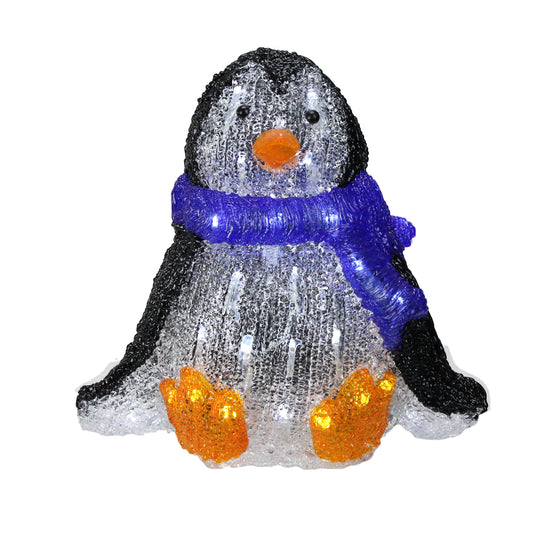 "11.5"" Lighted Commercial Grade Acrylic Baby Penguin Christmas Display Decoration"