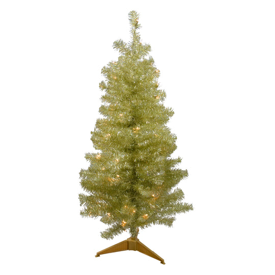 4' Pre-Lit Gold Iridescent Tinsel Slim Artificial Christmas Tree - Clear Lights