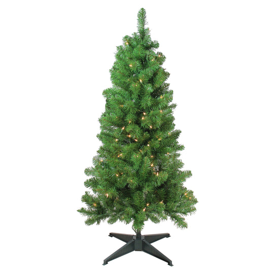 "4' x 25"" Pre-Lit Noble Pine Artificial Christmas Tree- Clear Lights"
