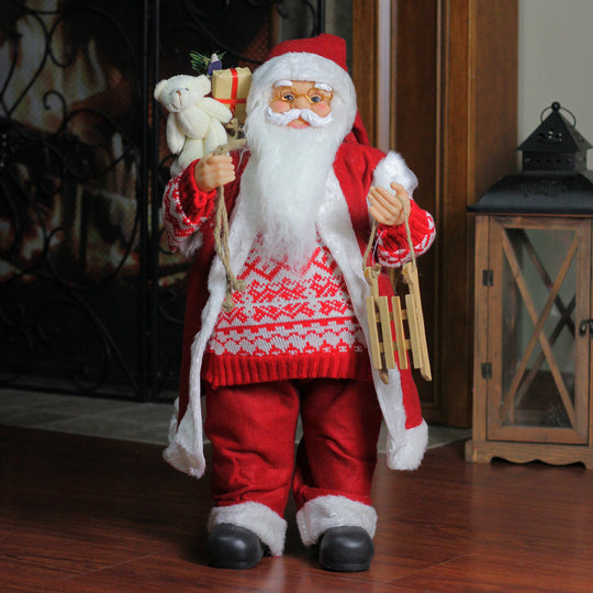 "24"" Country Twist Standing Santa Claus Christmas Figure with Snow Sled and Gift Sack"