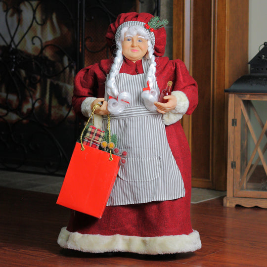 "24"" Mrs. Claus the Chef Standing Christmas Figure with Wine and Bag of Treats"