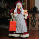 "Load image into Gallery viewer, 24"" Mrs. Claus the Chef Standing Christmas Figure with Teddy Bear and Bag of Treats"