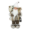 "Load image into Gallery viewer, 13"" Alpine Chic Beige and White Skiing Santa with Gift Bag and Lantern Decorative Christmas Figure"