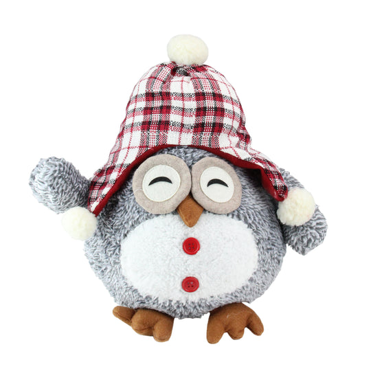 "12"" Gray Owl With Plaid Bennie Cap Plush Table Top Christmas Figure"