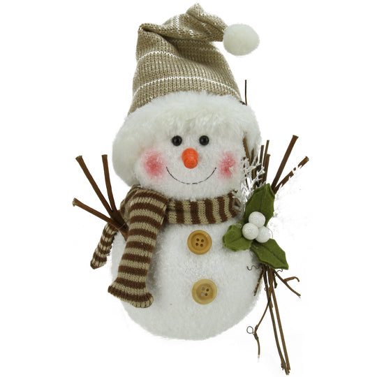 "10"" Alpine Chic Snowman with Twigs and Mistletoe Christmas Decoration"