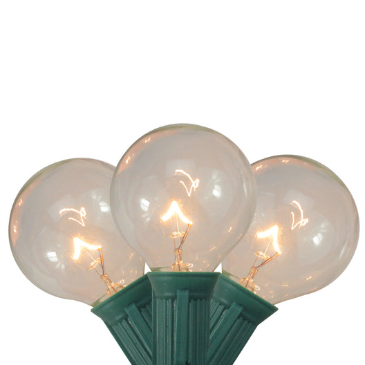 Set of 20 Clear G40 Globe Patio or Garden Christmas Lights - 19 ft Green Wire
