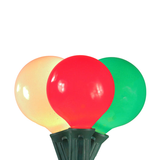 Set of 15 Red  White and Green Satin G50 Globe Christmas Lights - 13.75 ft Green Wire