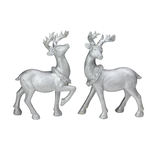 Set of 2 Silver Christmas Table Top Reindeer Figures