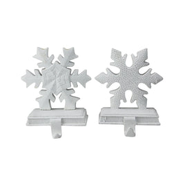 Set of 2 White Snowflake Glittered Christmas Stocking Holder 9.5