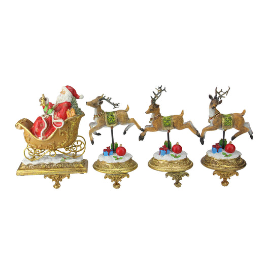Set of 4 Santa and Reindeer Glittered Christmas Stocking Holder 9.5