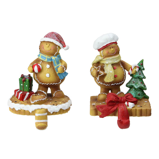 Set of 2 Glittered Gingerbread Christmas Stocking Holders 5.25