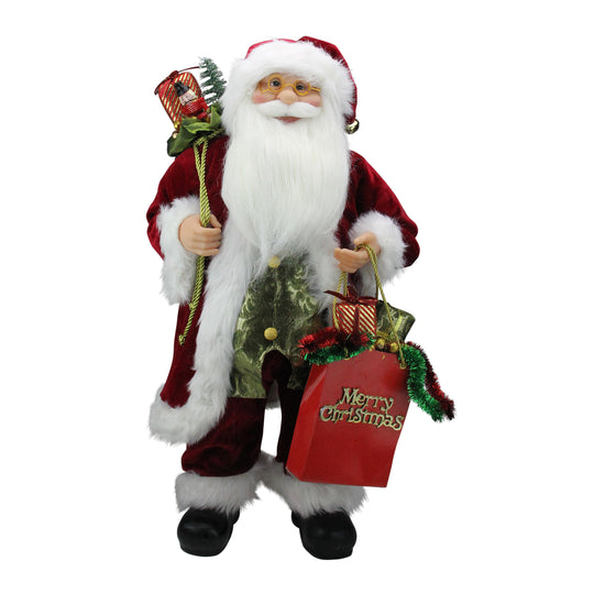 "24"" Standing Santa Claus Figure with ""Merry Christmas"" Gift Bag"
