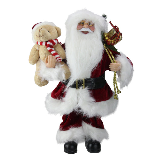 "12"" Traditional Standing Santa Claus Christmas Figure with Teddy Bear and Gift Bag"