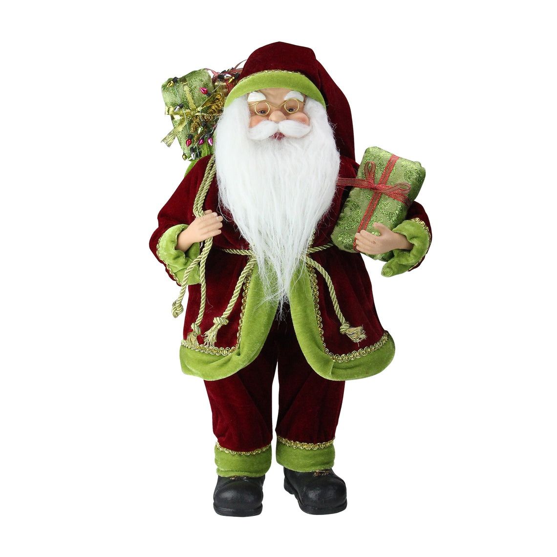 16 Inch Grand Imperial Red Green And Gold Standing Santa Claus Christmas Figure With Gift Bag