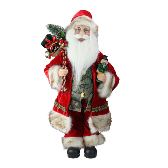 "18"" Chic Standing Santa Claus Christmas Figure with Gift Bag and Presents"