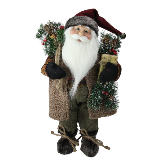 "16"" Country Rustic Standing Santa Claus Christmas Figure with Present"