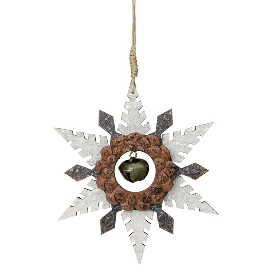 "6"" Brown Wooden Snowflake Christmas Ornament Country Rustic Bell"