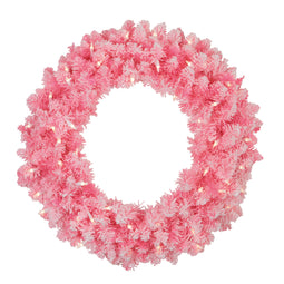 Pre-Lit Flocked Pink Artificial Christmas Wreath - 24-Inch  Clear Lights