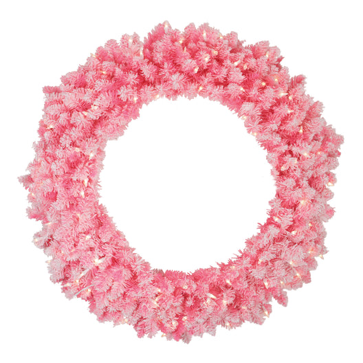 Pre-Lit Flocked Pink Artificial Christmas Wreath - 36 Inch Clear Lights