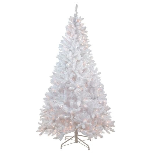 7' Snow White Pre-Lit Flocked Artificial Christmas Tree - Clear Lights
