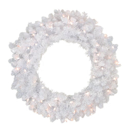 Pre-Lit Flocked Snow White Artificial Christmas Wreath Clear Lights