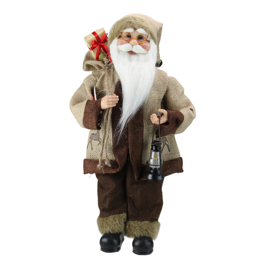 "18.25"" Country Rustic Santa Claus with Lantern Christmas Tabletop Decoration"