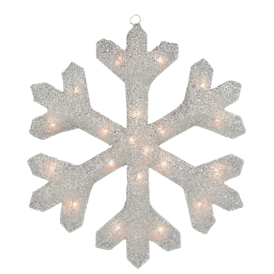 "20"" Lighted Silver Tinsel Christmas Snowflake Window Decoration"