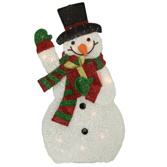 "32"" Lighted Tinsel Waving Snowman with Gift Christmas Outdoor Decoration"