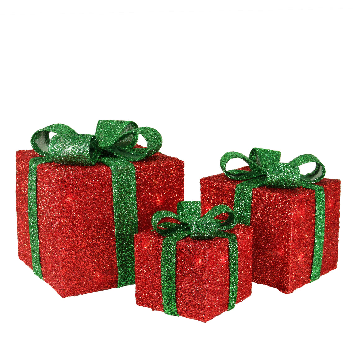 Set of 3 Red Tinsel Gift Boxes with Green Bows Lighted Christmas Outdoor Decorations