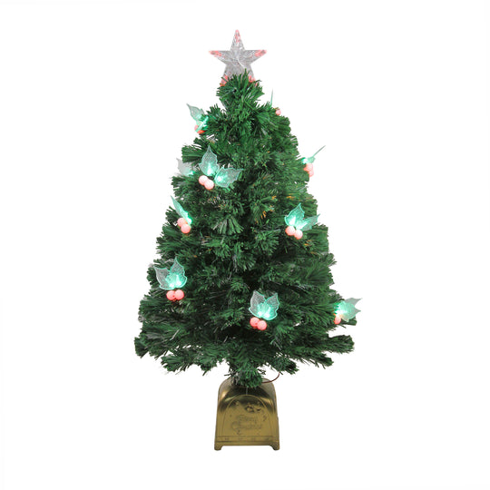3' Pre-Lit Fiber Optic Christmas Tree with LED Holly Berries