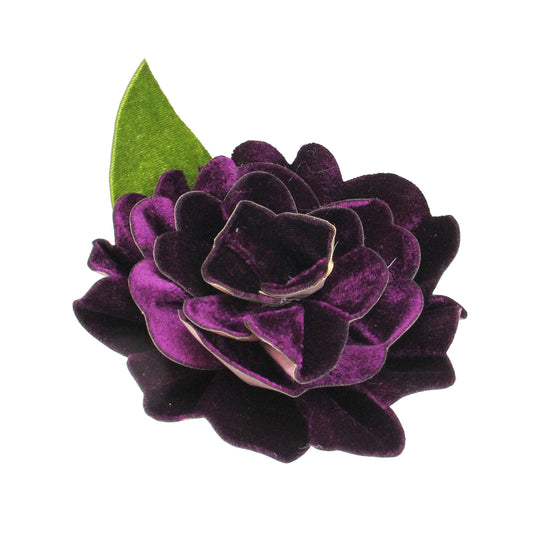 "Northlight Ja01583-5"" Clip-On Purple Velvet Camellia Flower With Leaf Christmas Ornament"