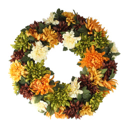 Autumn Orange and Cream Chrysanthemum Artificial Thanksgiving Wreath - 19.5-Inch  Unlit