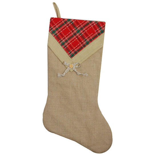 "20.5"" Rustic Burlap Christmas Stocking with Plaid V-Cuff"
