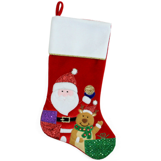 "20.5"" Red and White Glittered Santa Claus and Reindeer Christmas Stocking"