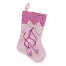 "Load image into Gallery viewer, 14"" Pink Embroidered Ballerina Shoes Christmas Stocking with Glitter Cuff and Bow"