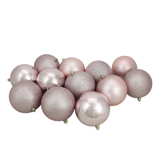 "Northlight Lj15394-12Ct Blush Pink Shatterproof 4-Finish Christmas Ball Ornaments 4"" (100Mm)"